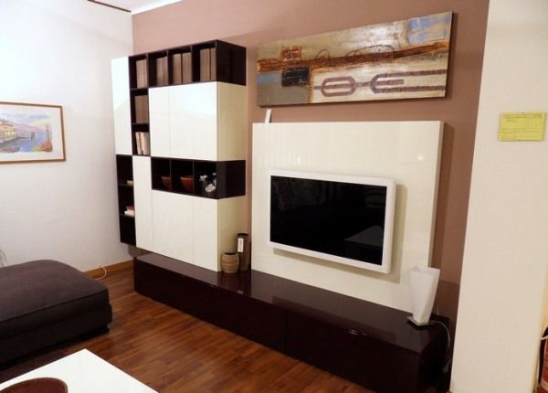 Comfort living room Abstract wall mural Stylish TV setup Box bookshelf
