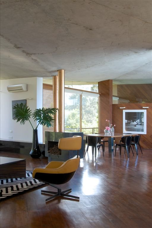 Concrete Ceiling Yellow Chairs Wooden Floor
