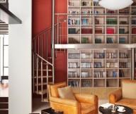 Contemporary house Elegant sofa Round coffee  table Amazing bookcase