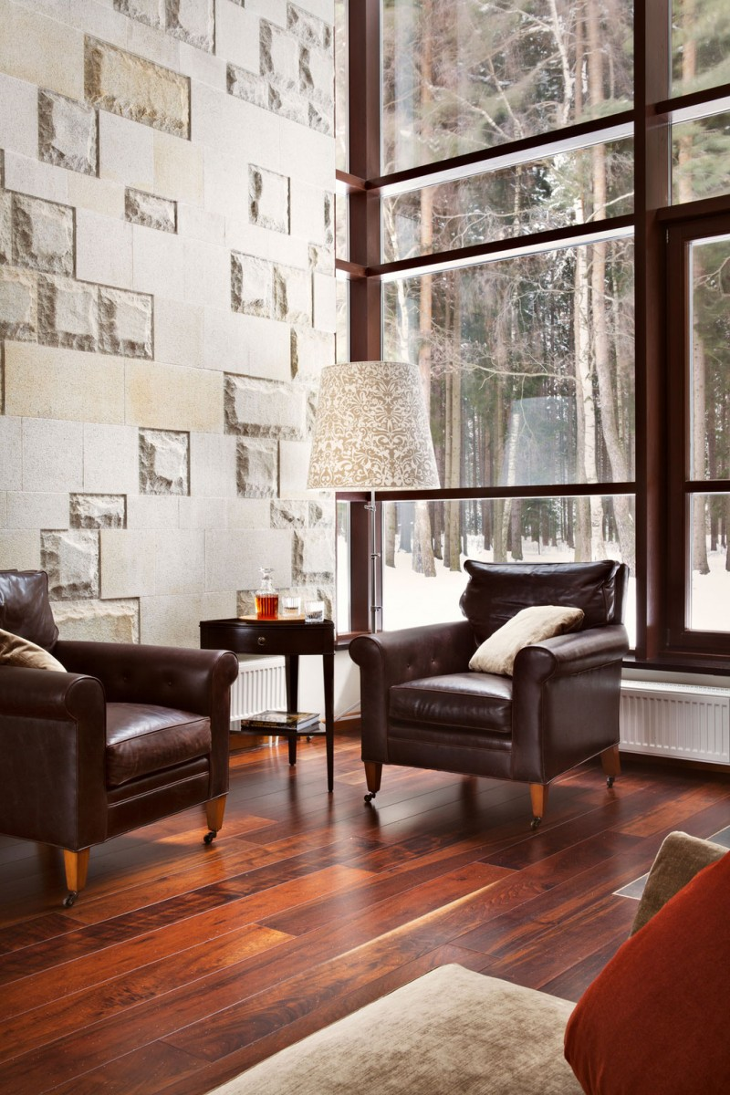 Contemporary house Precious floor lamp Leather sofa Laminate flooring