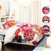 Cool Rooms for Girls Floral Bedcover Black Wooden Floor White Round Shelves