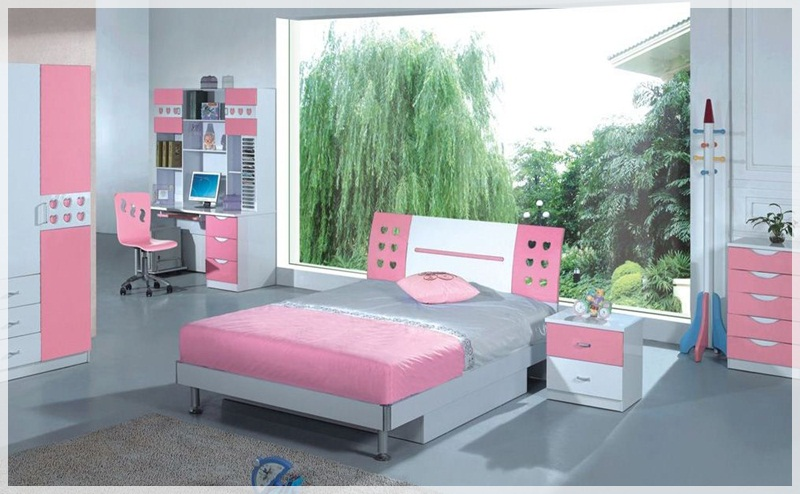 Cool Rooms for Girls Pink Bed Pink white Cupboard Grey Rug