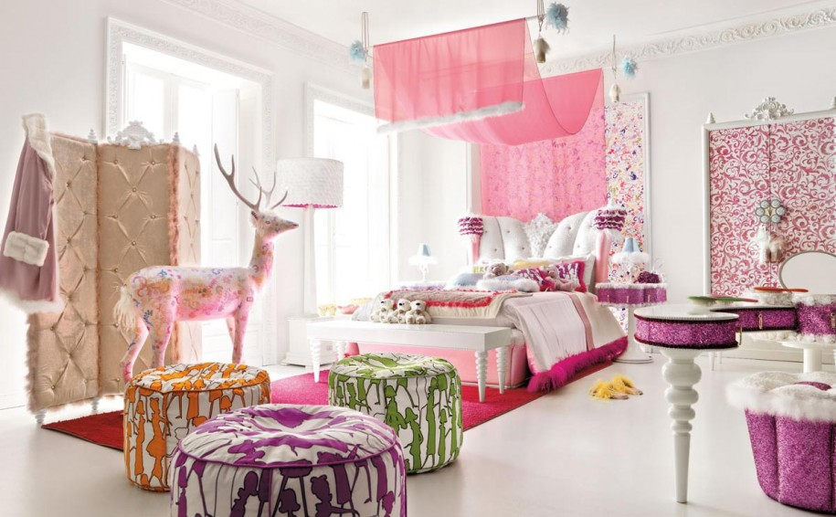 Cool Rooms for Girls Pink Mosquito Net Red Carpet White Wall Wide Windows