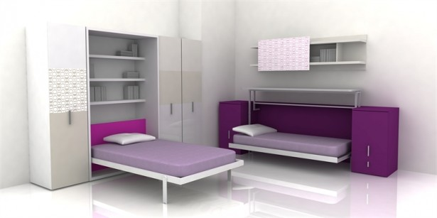 Cool Rooms for Girls Purple Double Beds Grey Cupboard Purple Cabinets