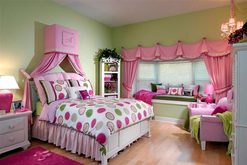 Cool Rooms for Girls White Bed Green Window Bench Pink Sofa Wooden Floor Pink Mat