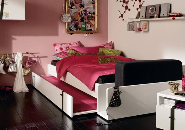 Cool Rooms for Girls White Bunk Bed Pink Wall Panel Black Wooden Floor