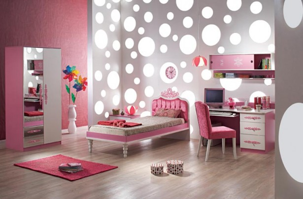 Cool Rooms for Girls White Polcadot Wall Red Carpet Pink Wall Panel Pink Shelves