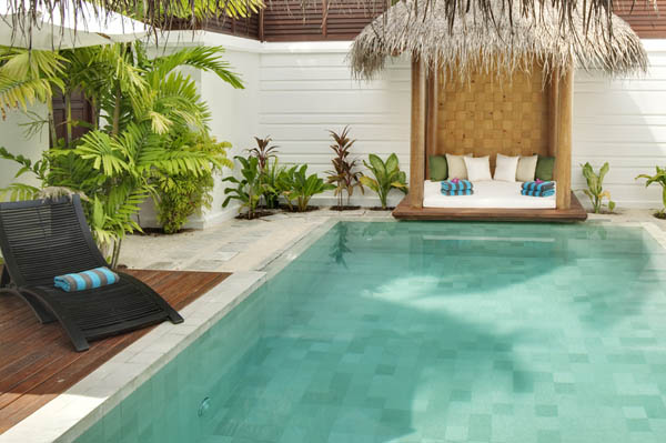Cool exterior pool Freshening ornamental plants Black chaise lounge chairs Traditional gazebo