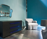 Couch Shape Mirror Minimalist Drawer Grey Floor Blue Wall