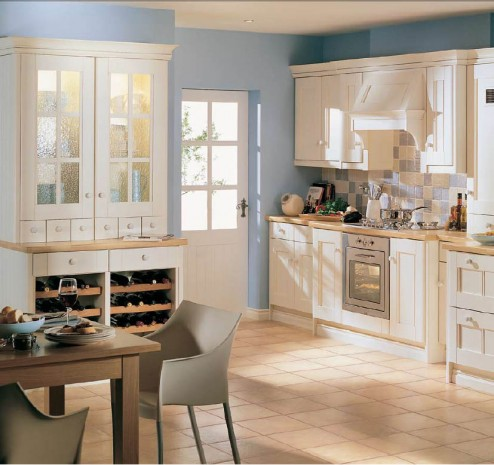 Country Style Kitchens creame ceramic floor soft grey chairs