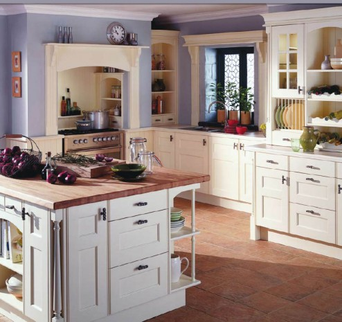 Country Style Kitchens Stone Floor White Cabinet Woden Table KVRiver
