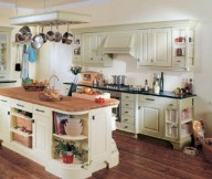 Country Style Kitchens wooden floor white cabinets hanging rack