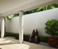 Courtyard Design and Landscaping Indoor Outdoor Garden Ideas white wall