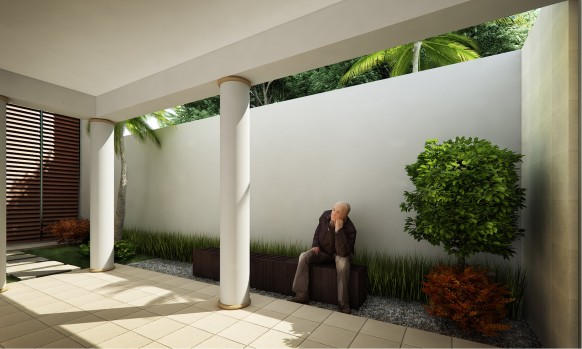 Courtyard Design and Landscaping Indoor Outdoor Garden Ideas white wall