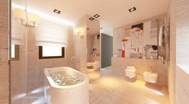 Cream Bathroom White Bath Tub White Water Closet White Blinds