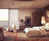 Cream Bed Wooden Floor White Curtain Cream Sofa