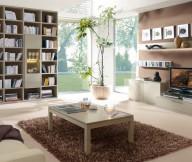 Cream Brown Modular Bookcase Brown Rug Cream Sofa Brown Wall Panel