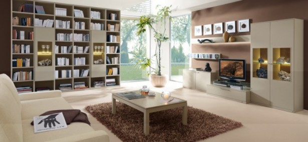 Cream Brown Modular Bookcase Brown Rug Cream Sofa Brown Wall Panel
