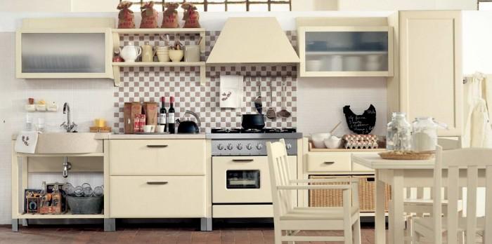 Cream Counters Cream Cabinet Plaid Backsplash Cream Dining Set