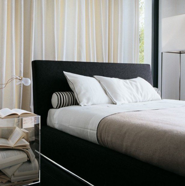 Cream Curtain Black Bed Frame Glass Small Table Stripes Bolster