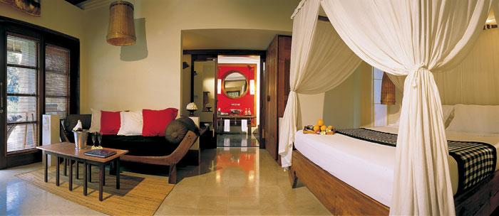 Cream Floor Red Cushions White Valance Wooden Door