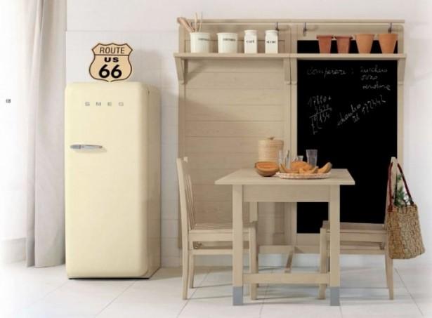 Cream Fridge White FLoor White Wall Wooden Dining Set