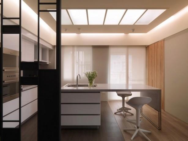 Cream Kitchen Island White Chairs White Cabinets White Curtain Wooden Door