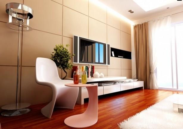 Cream Modular Wall Panel White Chair White Tabke White TV Cabinet
