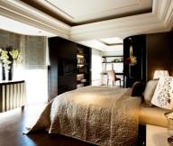 Cream Quilt Black Cabinets Black Partition