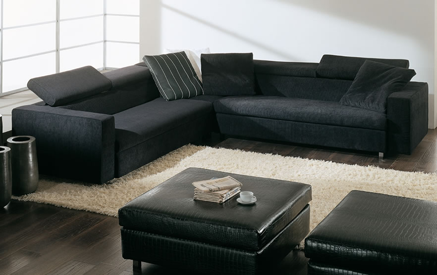 Cream Rug Black Sofa Minimalist Look White Wall