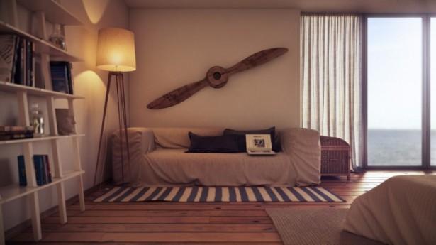 Cream Sofa Blue Striped Mat White Shelves Wooden Floor