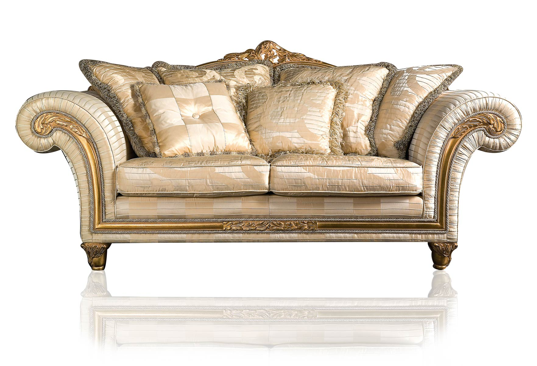 Cream Sofa Golden Hue Cream Cushions Classic Look