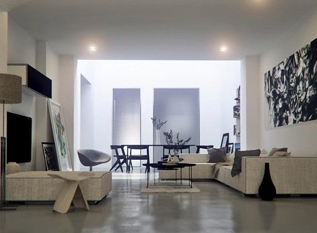 Cream Sofa Hidden Lamps White Wall Grey Floor