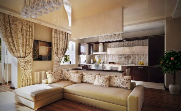 Cream Sofa Wooden Floor Cream Floral Curtain Brown Cabinets