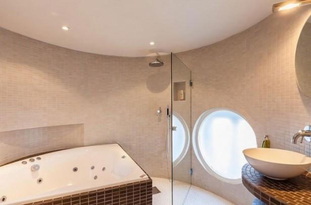 Cream Tiles Glass partition WHite Sink Brown Plaid Bath Tub