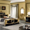 Cream Wall Black Bed Frame Golden Hue Grey Floor