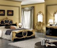 Cream Wall Black Bed Frame Golden Hue Grey Floor