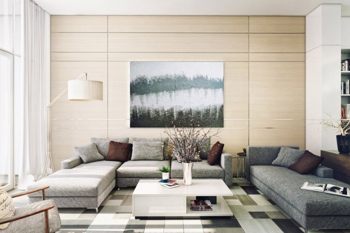 Cream Wall Panel Grey Sofas Brown Cushions White Table White Arch ...