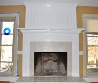Cream Wall White Fireplace Mantel White Window Panes