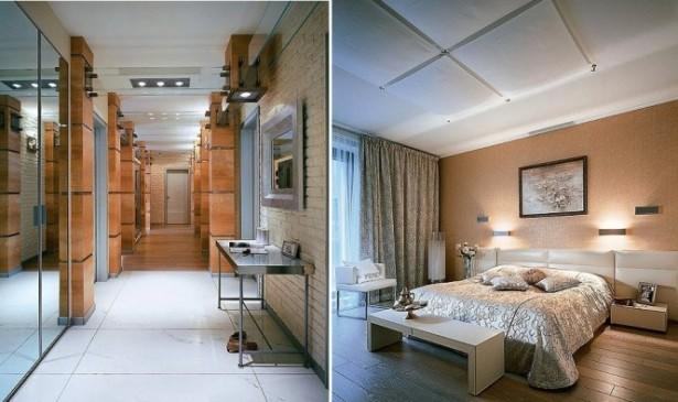 Cream Wall Wooden Floor Hidden Lamps White Ceiling