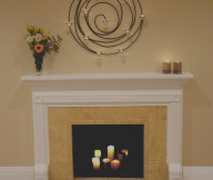 Cream Wall Wooden Floor White Fireplace Mantel Modern Wall Lamp