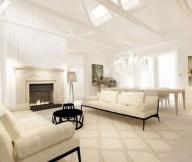 Cream White Sofa White Ceiling White Stone Fireplace Grey Standing Lamp