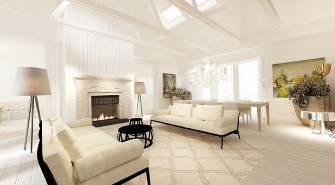 Cream White Sofa White Ceiling White Stone Fireplace Grey Standing Lamp