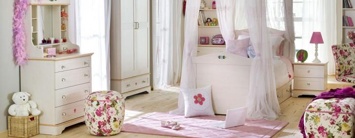 Creame Cupboard White Bed White Window Brown Wooden Floor Pink Carpet