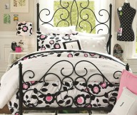 Creame Wall Black Bed Frame White Window White Curtain