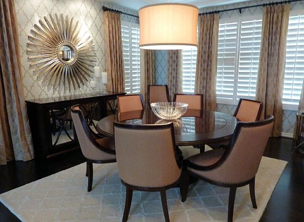Creame curtain fancy-round-dining-table