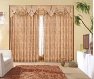 Curtain Designs for Windows Brown Polka Dot Curtain Brown Rug WHite Sofa White TV Cabinet