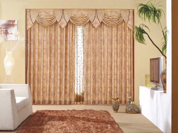 Curtain Designs for Windows Brown Polka Dot Curtain Brown Rug WHite Sofa White TV Cabinet