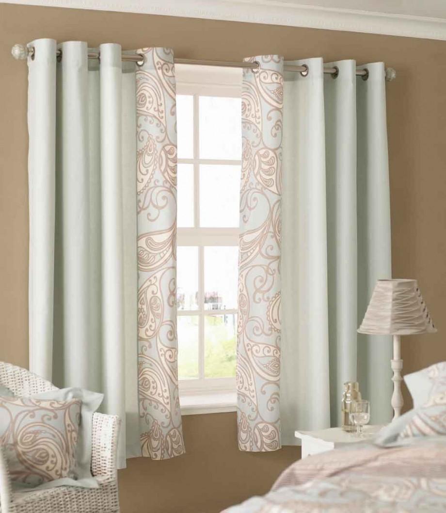 Curtain Designs for Windows Green Pattern Curtains Brown Wall White Rattan Chair
