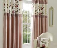 Curtain Designs for Windows Purplish Pink Curtains White Windows White Chairs Floral Cushion White Mirror
